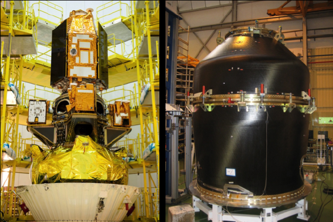 Advanced launch systems: ASAP-S: Multiple launch system for SOYUZ before flight (left) VESPA: Multiple launch system for VEGA during tests (right)